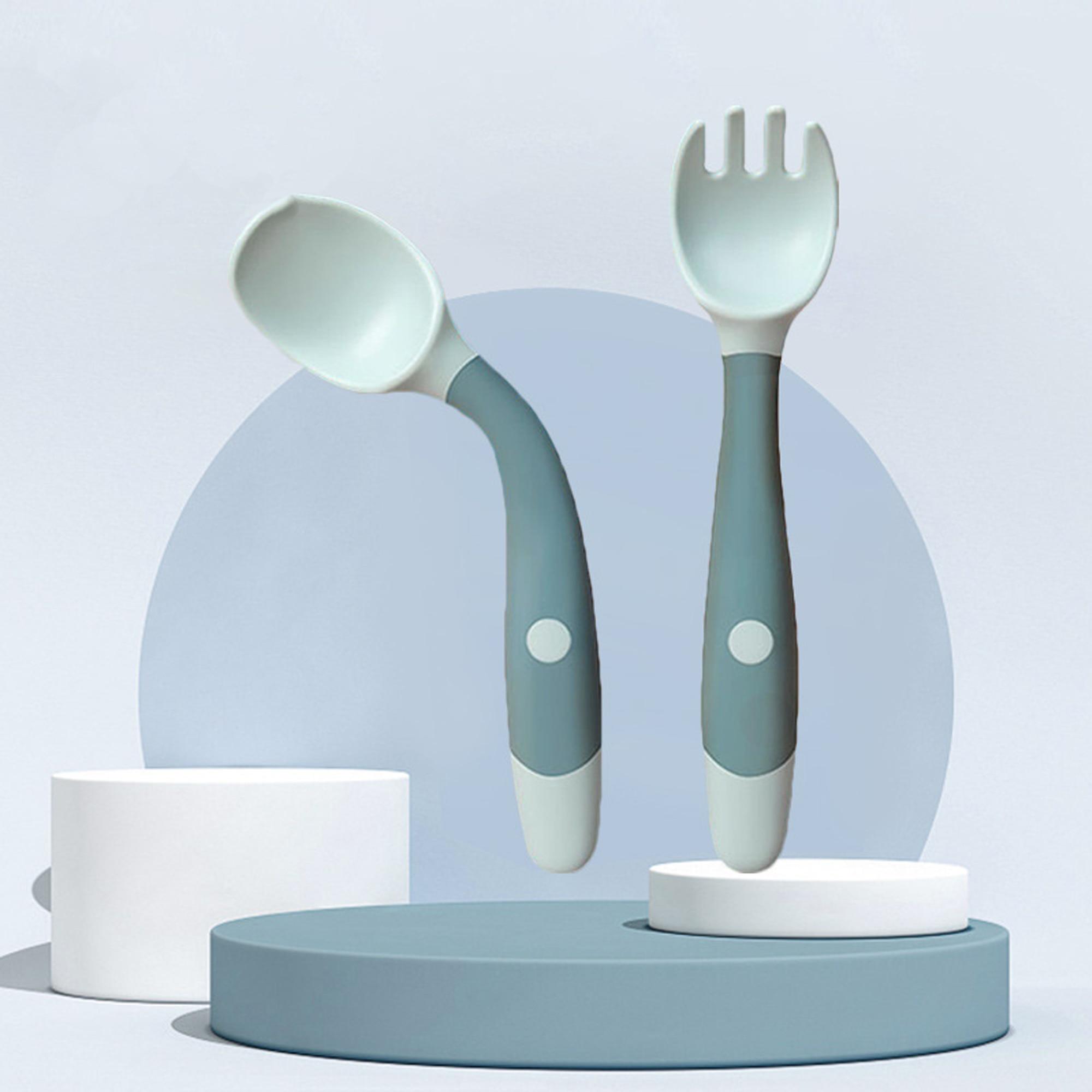 Детская Ложка силиконовая посуда набор вспомогательной пищи малыш узнать есть обучение Гибкая мягкая вилка для младенцев, безопасная посу...