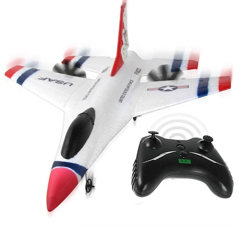 -823 2,4G 2CH F16 Thunderbirds EPP Control remoto RC planeador avión blanco 270x310x80mm para niños regalo de cumpleaños