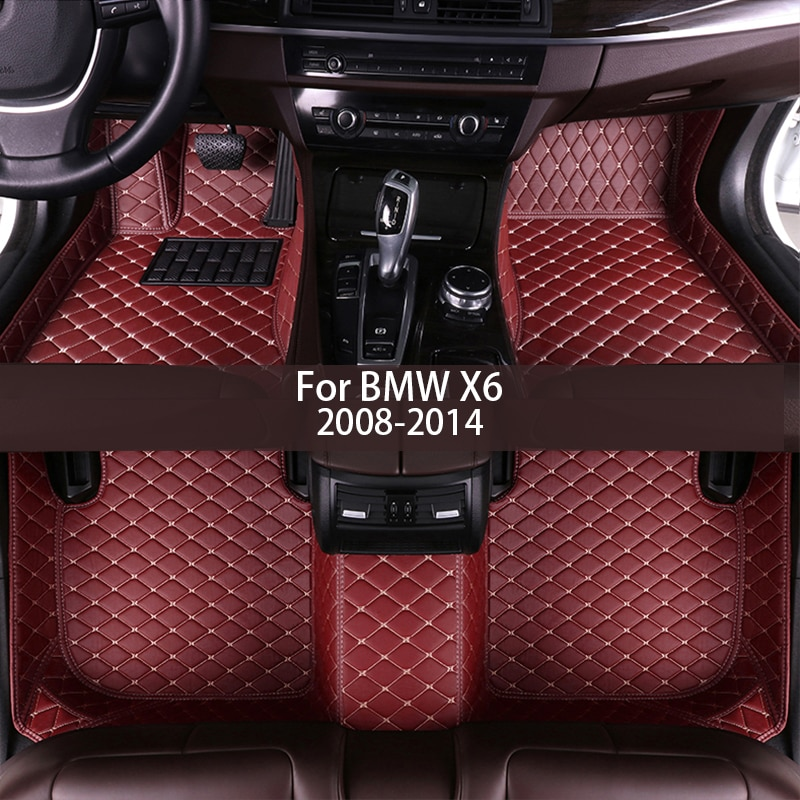leather Car floor mats for BMW X6 2008 2009 2010 2011 2012 2013 2014 Custom auto foot Pads automobile carpet cover