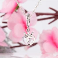 hot s925 sterling silver new concentric knot crown pendant creative heart shaped pendant bracelet original beads charms