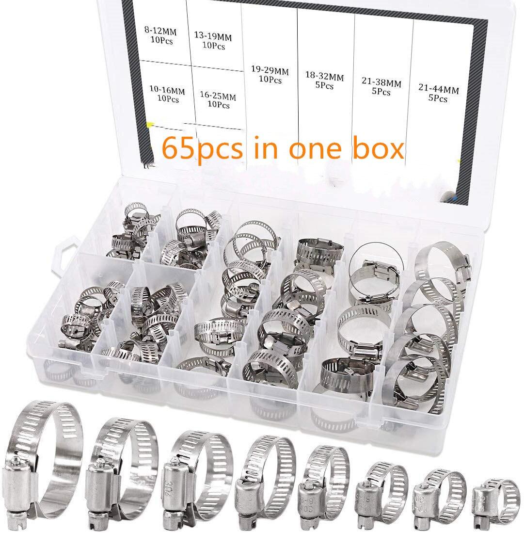 65 pièces colliers de serrage réglable 8-44mm 304 en acier inoxydable engrenage à vis sans fin collier de serrage assortiment