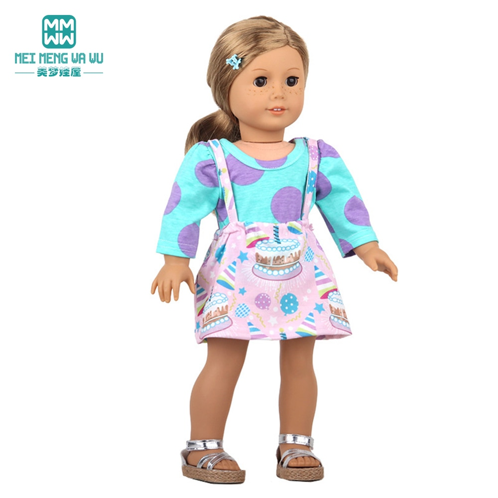 Clothes for doll fit American doll accessories Fashion Strap skirts, jackets, dresses, shoes Girl's