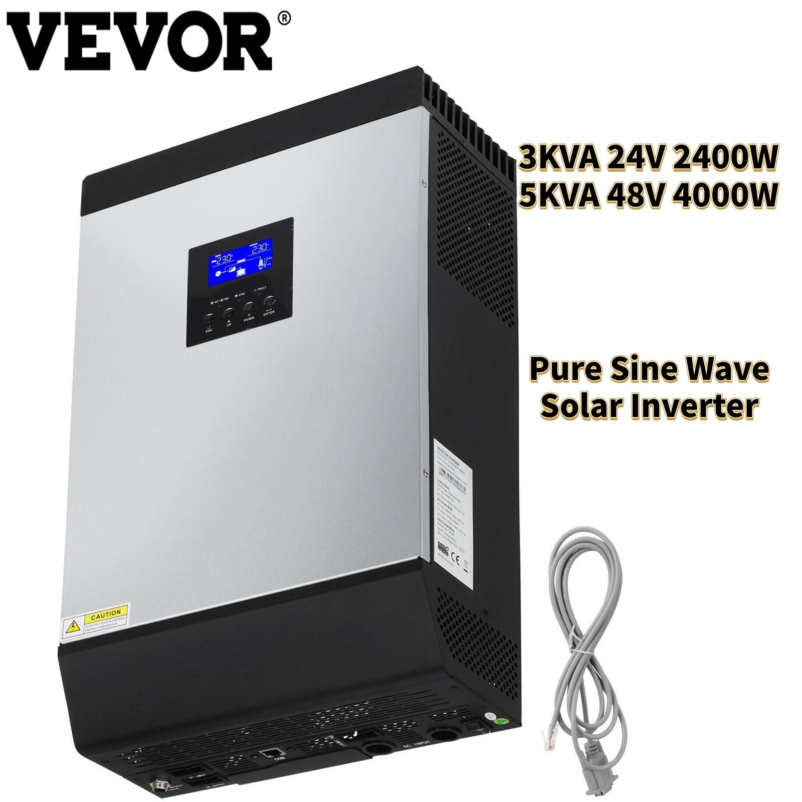 VEVOR 3KVA 24 فولت 2400 واط 5KVA 48 فولت 4000 واط عاكس شمسي هجين MPPT خارج الشبكة موجة جيبية نقية 230VAC شاحن للأجهزة المكتبية المنزلية