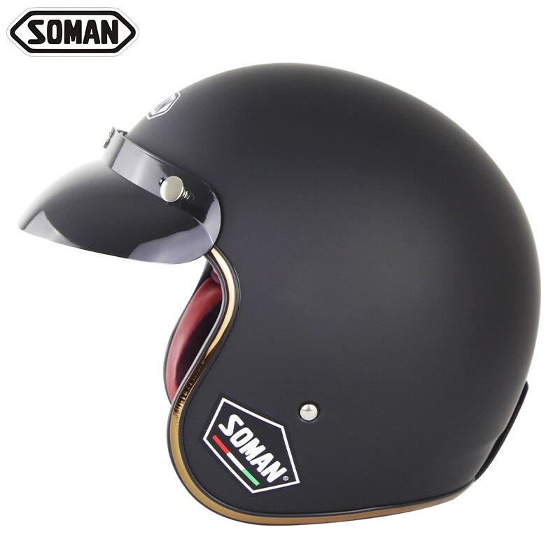 Мотоциклетный шлем Чоппер винтажный черный безопасный 3/4 с быстроразъемной пряжкой для электрического скутера Женский шлем Casco уличный вел...