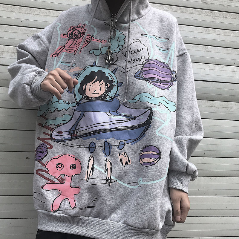 QWEEK в стиле хип-хоп худи с граффити 2021 модные женские туфли унисекс на каждый день японский уличная Женская обувь в стиле Харадзюку Толстовк...