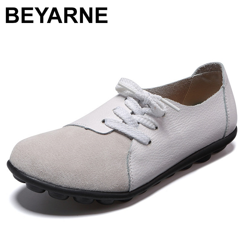 Beyarne mocassins femininos, mocassins femininos baixos, tamanhos grandes, primavera/verão Size35-43