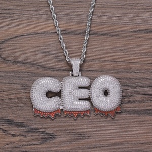 New Fashion Charms Iced Bling Custom Name 26 Letters Brass CZ Red Pendant Iced Out  Hip Hop Necklace  Jewelry Gift for Women Men