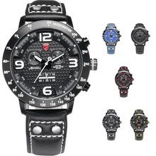 Men Sport Outdoor PU Watch for Men Double Movement Chronograph Alarm LCD Male Clock Water Resistant