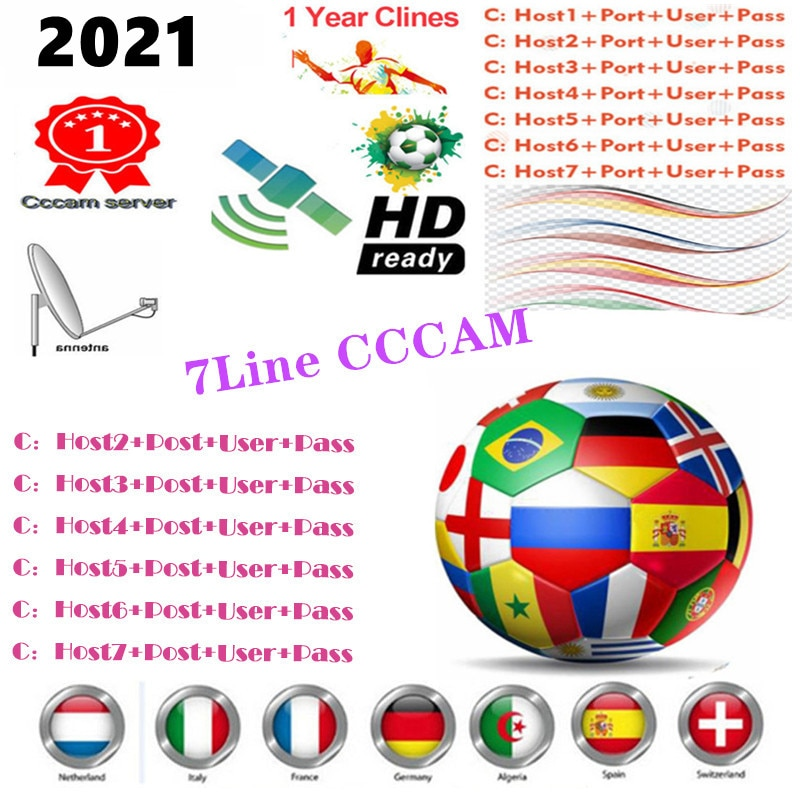 CCCAM The Most Stable 8 line for Satellite tv Receiver 7 Clines WIFI FULL HD DVB-S2 Support Cccam
