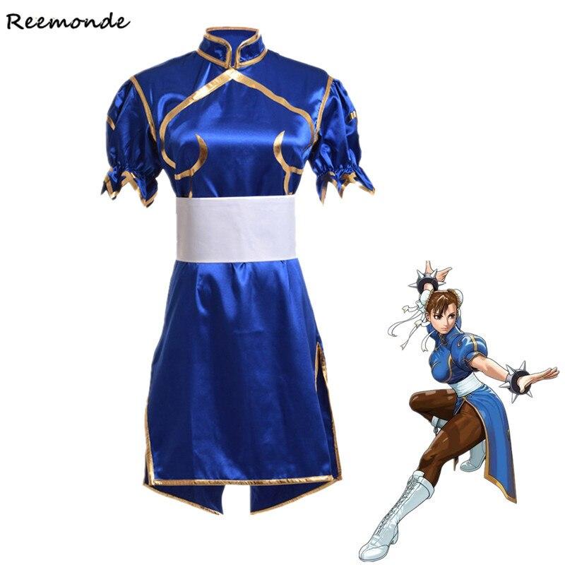 Juegos Chun Li Cosplay disfraces adultos azul Sexy Cheongsam vestido cinturón Headgear niños mujeres niñas fiesta Halloween ropa