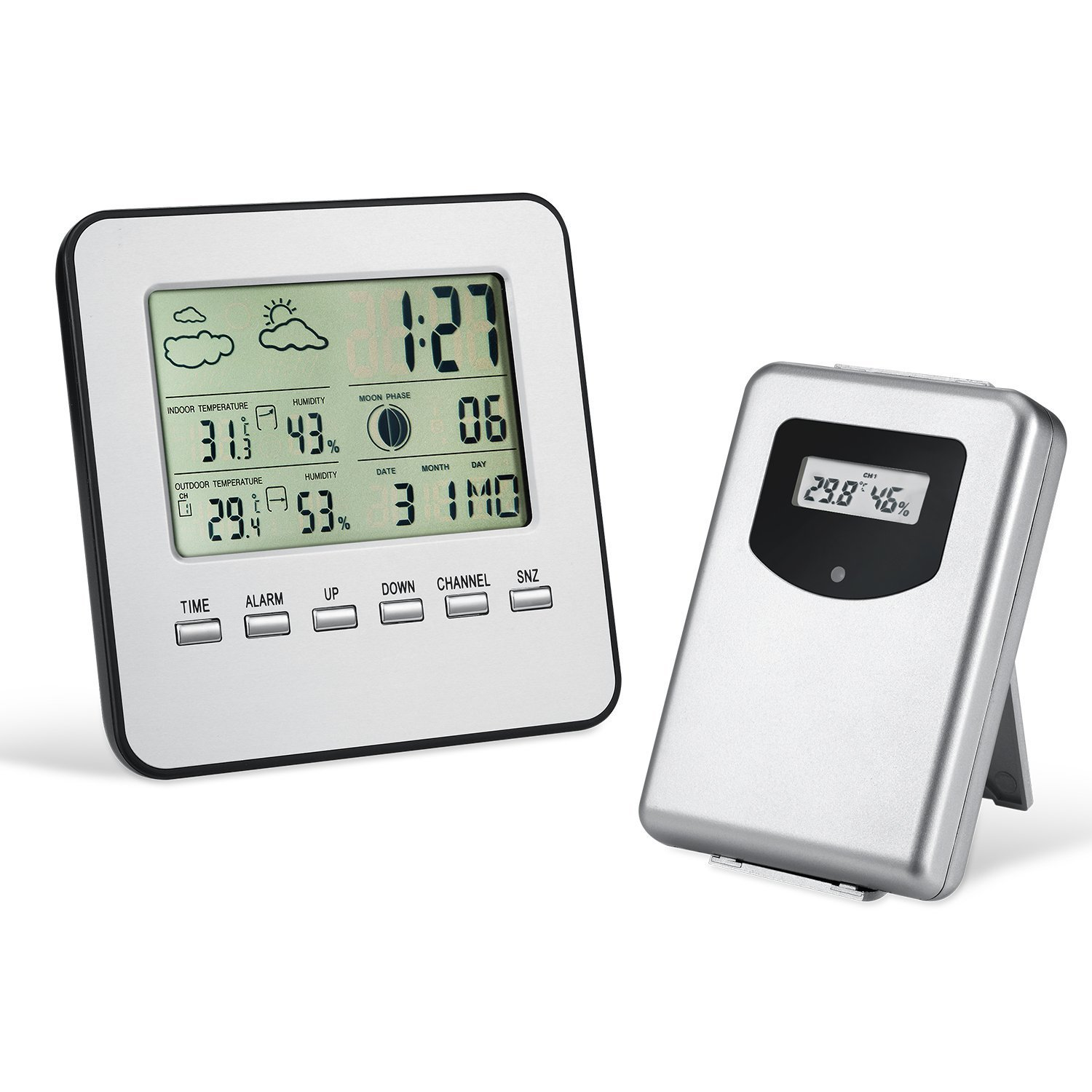 Wireless Indoor Outdoor Thermometer Hygrometer Weather Station Alarm Clock Electronic Digital Temperature Humidity Meter htc 1 indoor room lcd digital electronic thermometer hygrometer measuring temperature humidity meter alarm clock weather station