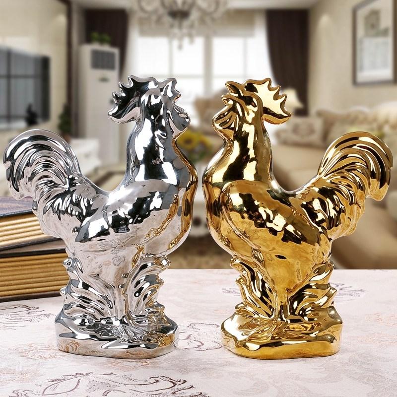 Modern Ceramic Animal Ornament Swan Chicken Tree Figurines Decoration Home Livingroom TV Cabinet Furnishing Crafts Wedding Gifts