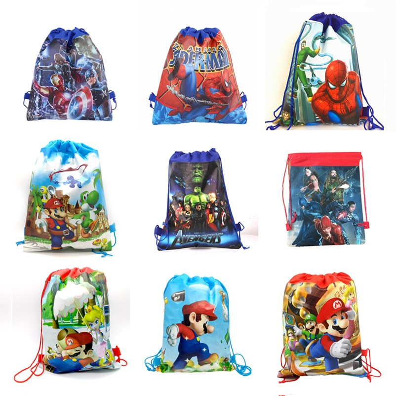 20 Uds 37*24cm héroe vengador Spiderman Mario unicornio Mickey Minnie telas no tejidas bolsas de lazo mochila bolsas de regalo