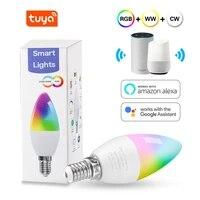 Ampoule LED Tuya Smart Wifi RGB   W   C  bougie LED E14  lumiere reglable  telecommande  fonctionne avec Alexa Google Home Assistant