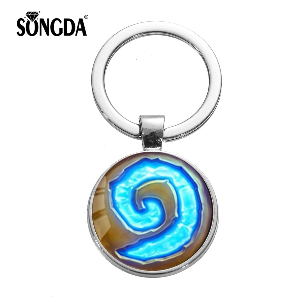 SONGDA Лидер продаж World of Warcraft Hearthstone брелок модный голубой камень отзыва стеклянный кулон брелок игрушки подарок для мужчин мальчиков