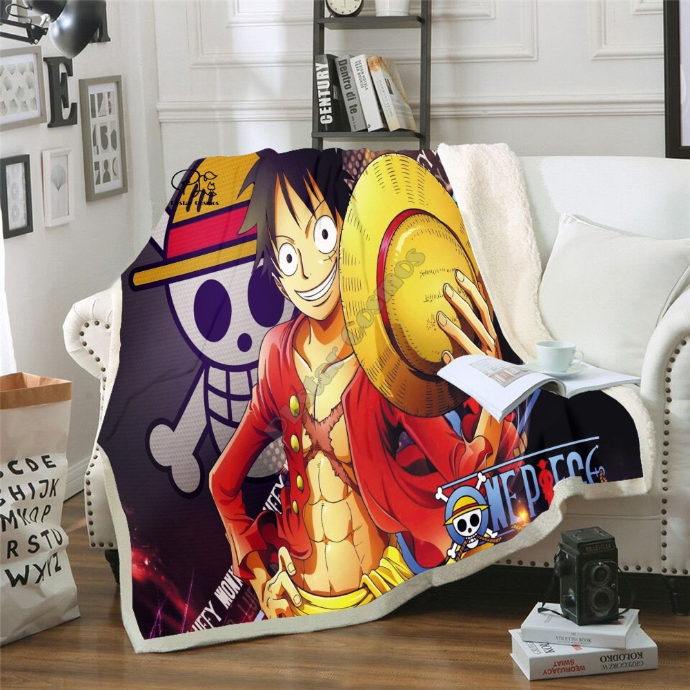 Anime One Piece Blanket Design Flannel Fleece Blanket Printed Sofa Warm Bed Throw Blanket Adult Sherpa Blanket style-5