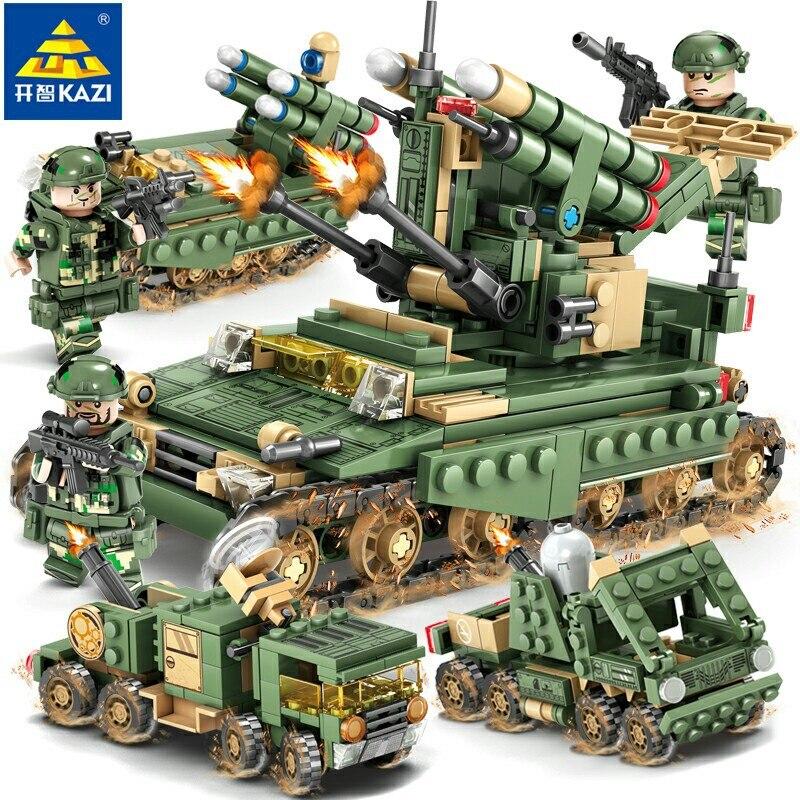 Compatible Legoinglys bloques de construcción militar Guerra de misiles soldados tanques coche montar campo militar modelo niños juguete educativo