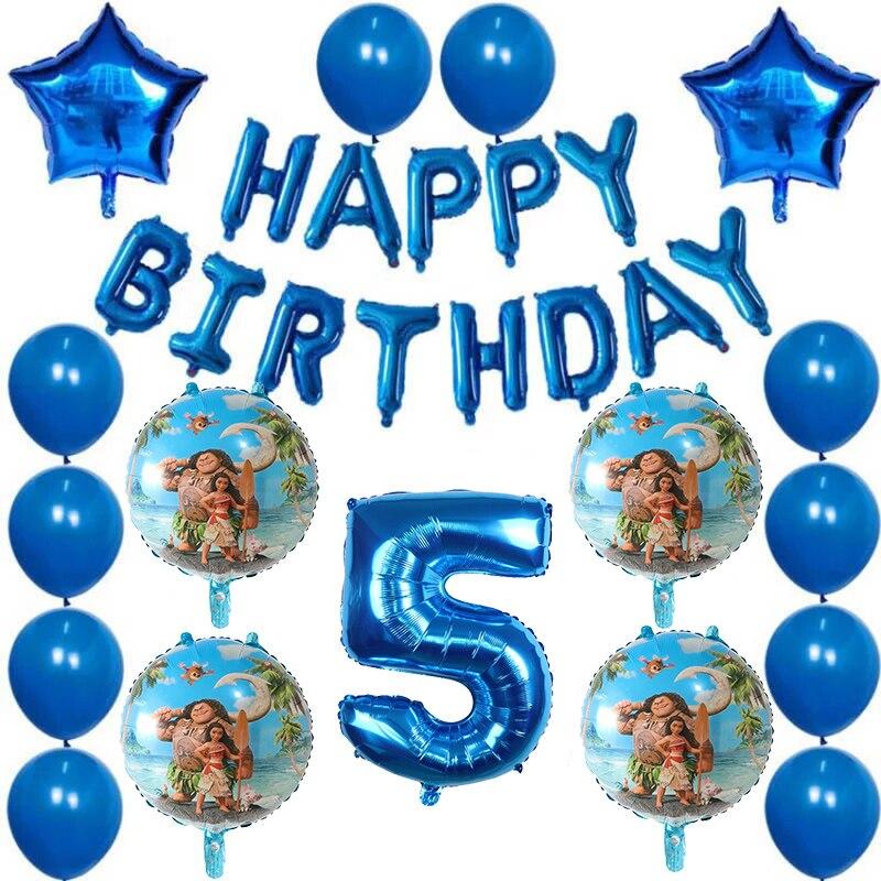 30Pcs Moana Folie Luftballons Blau Anzahl Ballon Liefert Nette Mädchen Prinzessin Moana Thema Geburtstag Party Dekoration Kinder Spielzeug Geschenke