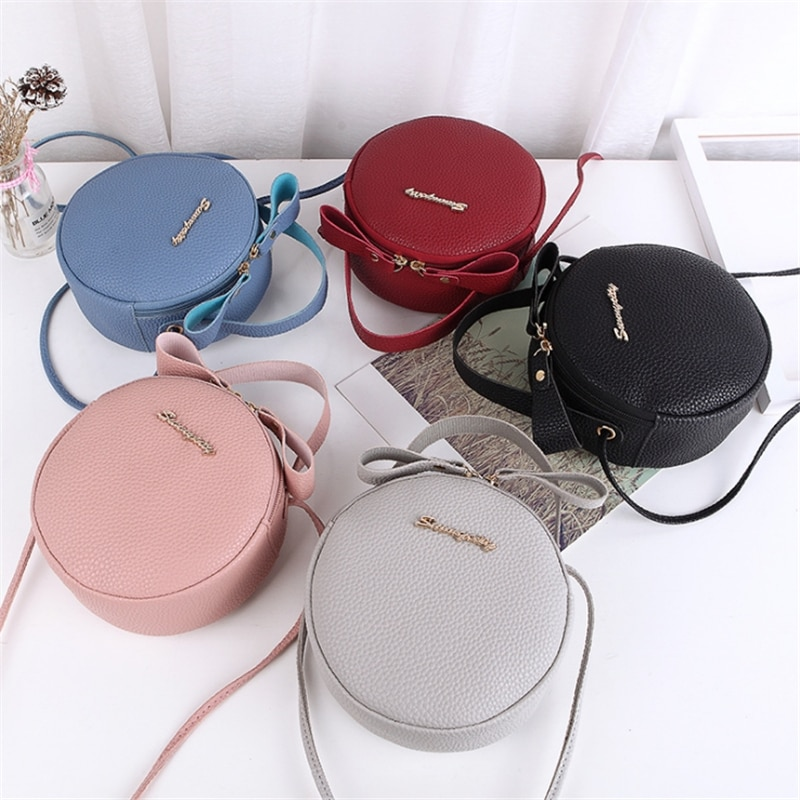 Fashion Women Phone Bag Mini PU Leather Circular Handbag Simple Design Messenger Bags For Female Crossbody Purse
