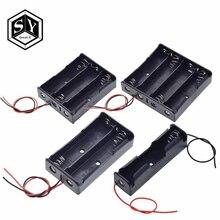 Черный пластик 1x2x3x4x18650 ящик для хранения батарей 1 2 3 4 слота DIY зажим для батарей держатель Контейнер с проводом свинцовая шпилька