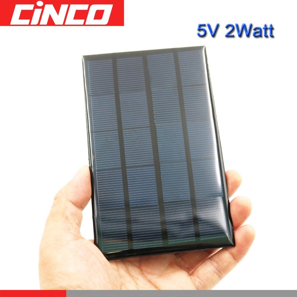Las células solares 5 V 2 vatios de Li-Ion cargador de batería banco de potencia de tensión LED lámpara Solar Panel 5 VDC