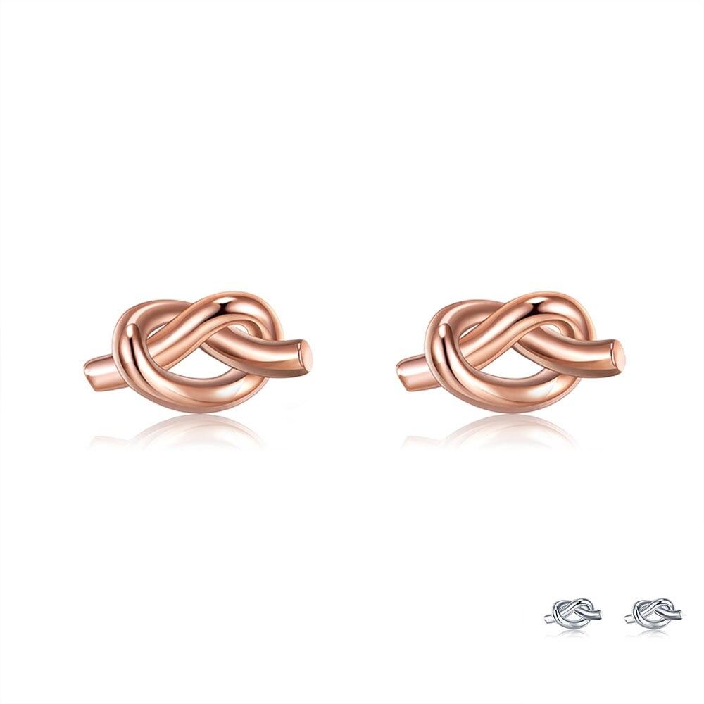 ZEMIOR 100% 925 Sterling Silver For Women Knot Stud Earrings Minimalist Trendy Rose Gold Color Earring Fine Jewelry