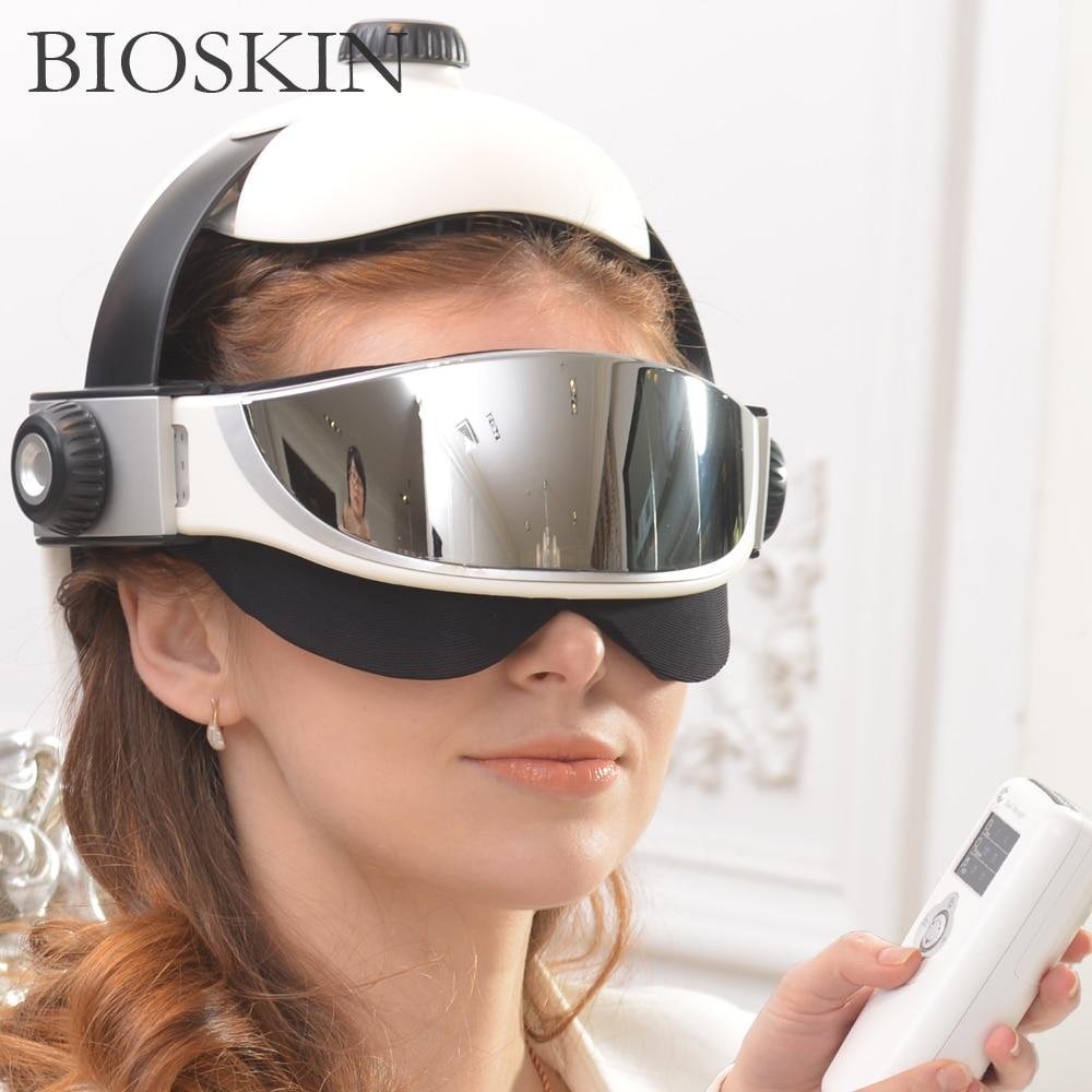 Bioskin-مدلك رأس العين الذكي 2 في 1 ، تدفئة ، ضغط الهواء ، العلاج بالاهتزاز ، مدلك كهربائي ، رعاية صحية للعضلات