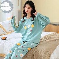 Весенне-осенняя женская пижама для отдыха с длинным рукавом, Женский пижамный комплект, пижама с мультяшным рисунком, хлопковая одежда для ...