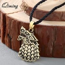 QIMING fait à la main rondelle noir hommes collier Freki loup dodin Viking Bijoux scandinaves argent animaux colliers Bijoux cadeau