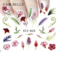 gam belle 1pcs water nail decal and sticker flower leaf tree green simple summer slider for manicure nail art watermark tips