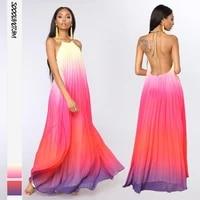 elegant gradient print sexy long dress women summer backless sleeveless robe bodycon dress female neck mounted party dresses
