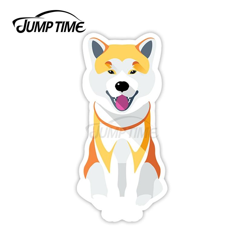 Tempo de salto para bonito shiba inu vinil adesivos cachorro akita adesivo portátil à prova dwaterproof água estilo do carro acessórios