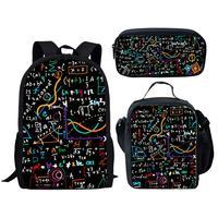 Black Math Formula Print Kids Bags for Girls Boys School Bag Set Cool Children Geometric Schoolbag Bookbags Student Backpack