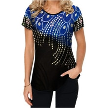 New Summer T Shirt Short Women Casual Tops 3D Print Women Short T-Shirts Peacock Feather Printing Tshirt Womens Shirts Clothing