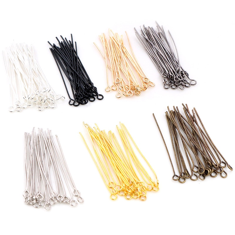 200pcs/bag 16 20 25 30 35 40 45 50mm Eye Head Pins Classic 7 colors Plated Eye Pins For Jewelry Findings Making DIY Supplies