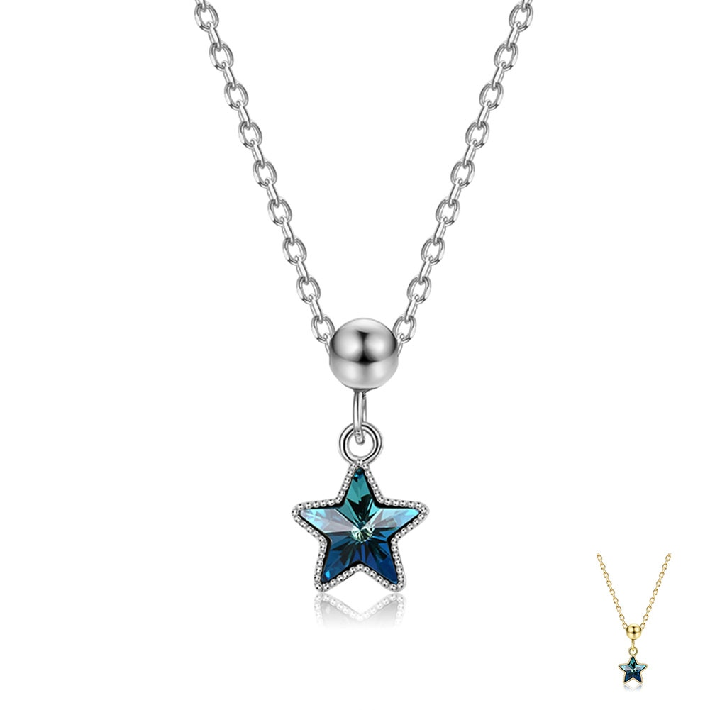 SILVERHOO 925 Sterling Silver Pendant Necklace For Women Five-Pointed Austria Crystal Necklace Party Fine Jewelry Trend 2021 New