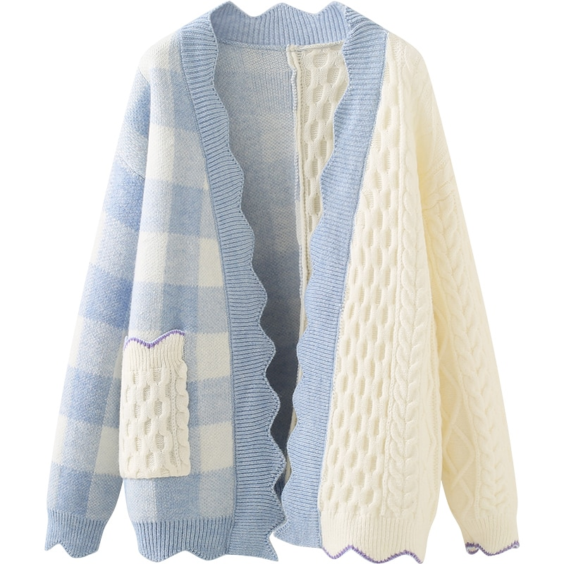 knitted checked tank top Checked Knitted Cardigan Jacket Autumn Fashion Temperament All Match Loose Fitting Long Sleeved Top Women