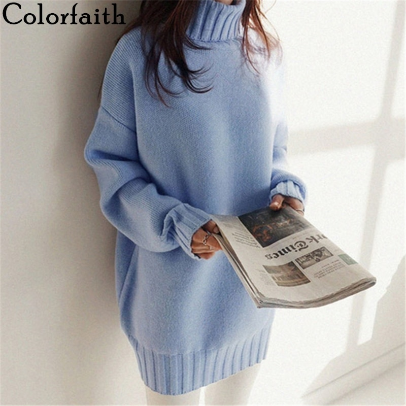 Colorfaith New 2021 Winter Spring Women's Sweaters Korean Style Turtleneck Warm Pullover Oversize Long Warm Knitwear SW9585