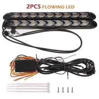 2pcs 12v car smd led amberwhite switchback flowing water strip flasher turn signal light day time running lamp 1200lm parts