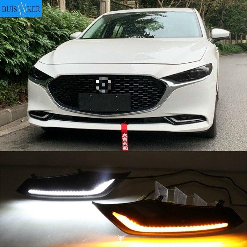 Luz LED de conducción diurna para Mazda 3 Axela 2019 2020, impermeable, 12V, luz indicadora de señal de giro amarilla, luz para parachoques LED DRL