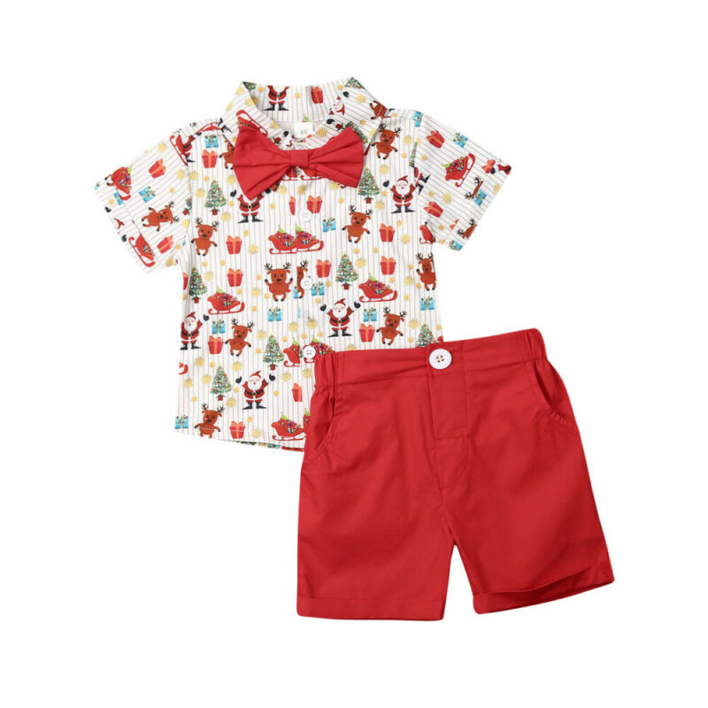 2-6T 2PCS Kids Baby Boy Suit Boys Clothes Wedding Bowtie Gentleman Christmas T-Shirt+Shorts Outfits Set Boys Christmas Outfits