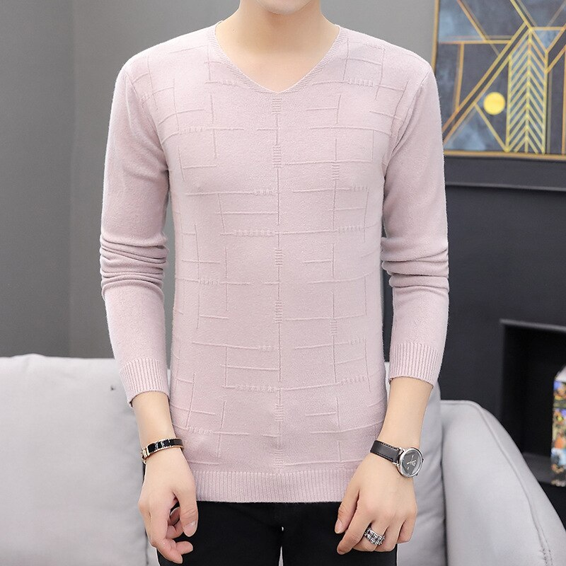 Mens Sweaters Long Sleeve Fashion V-Neck Low Collar Sweater Men Casual Knitting Thin Sweaters Pullover Clothing Men Sweater mens sweaters new classic simplicity pullover o neck sweater men long sleeves grey black teenagers sweaters