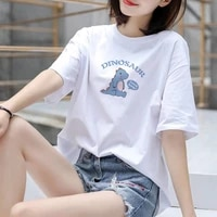 summer 2021 women t shirt solid color cartoon pattern short sleeve tees loose casual lovely womens top plus size m 3xl l3213