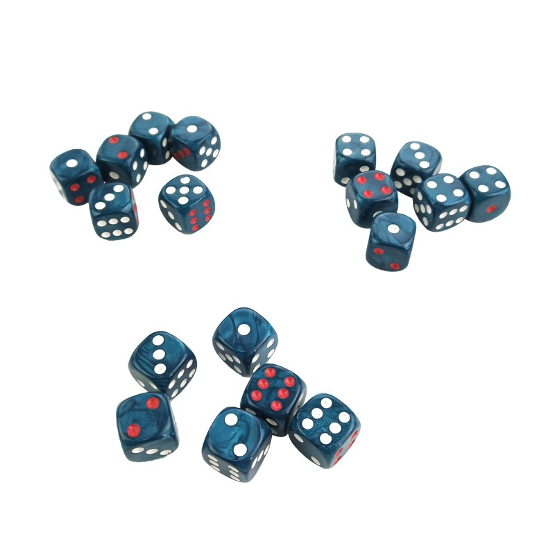 Blue Dice Table Games D6 High-quality Plastic Product New 50/100/200 PCS Acrylic Dice 16mm Round Corner Marble effect Dice Set