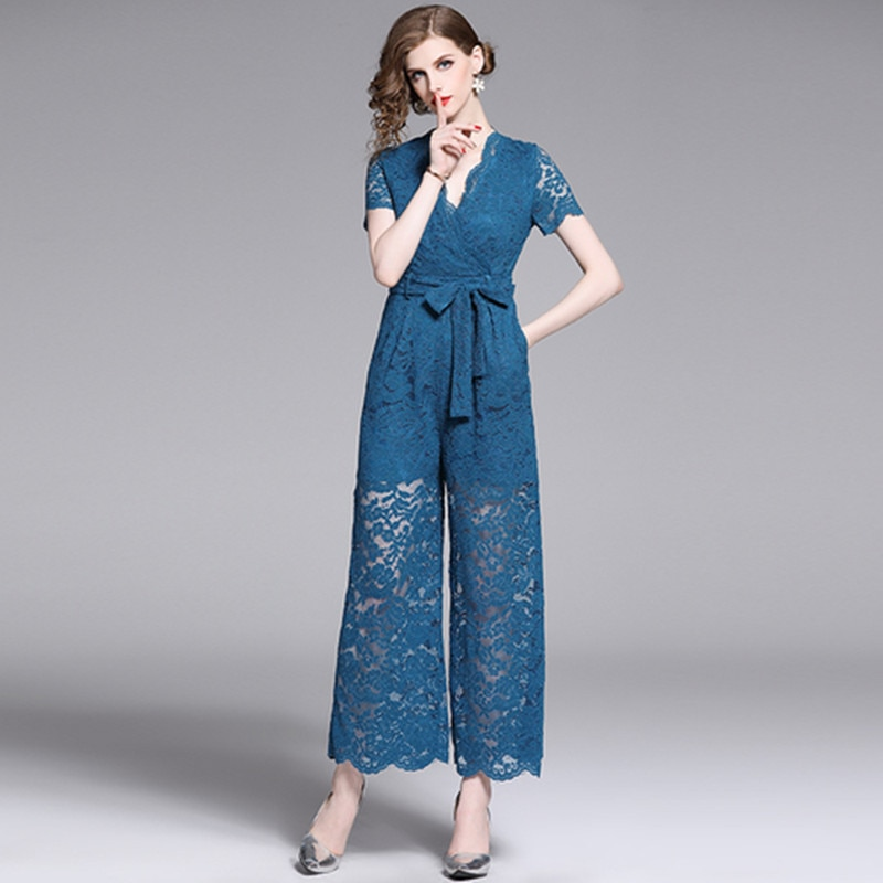Sexy Lace Jumpsuit Women Short Sleeve High Waist See Through Full Bodysuit Long Romper Pants Skinny Elegant Evening Jumpsuits