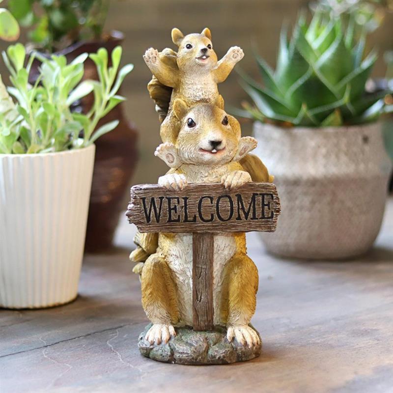 حديقة الحلي علامة ترحيب السنجاب ترحيب بطاقة الراتنج ديكور المنزل ترحيب فناء منحوتة باليد الراتنج الحرف تمثال