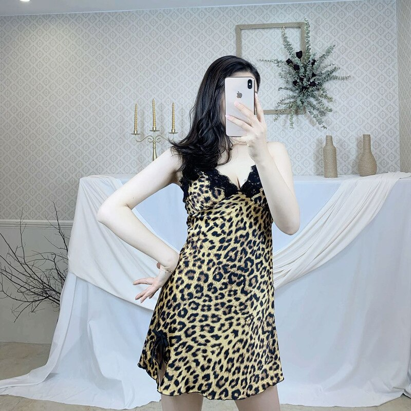 Summer Sexy Spaghetti Dress Women Nightdress Hot Leopard Printed Lace Lingerie V Neck Straps Nightgown for Homewear Robes