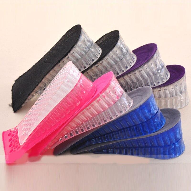 1 par de plantillas interiores invisibles de silicona para hombres y mujeres, altura del talón, aumento de zapatos, almohadillas de zapato, insertos antideslizantes, medias almohadillas