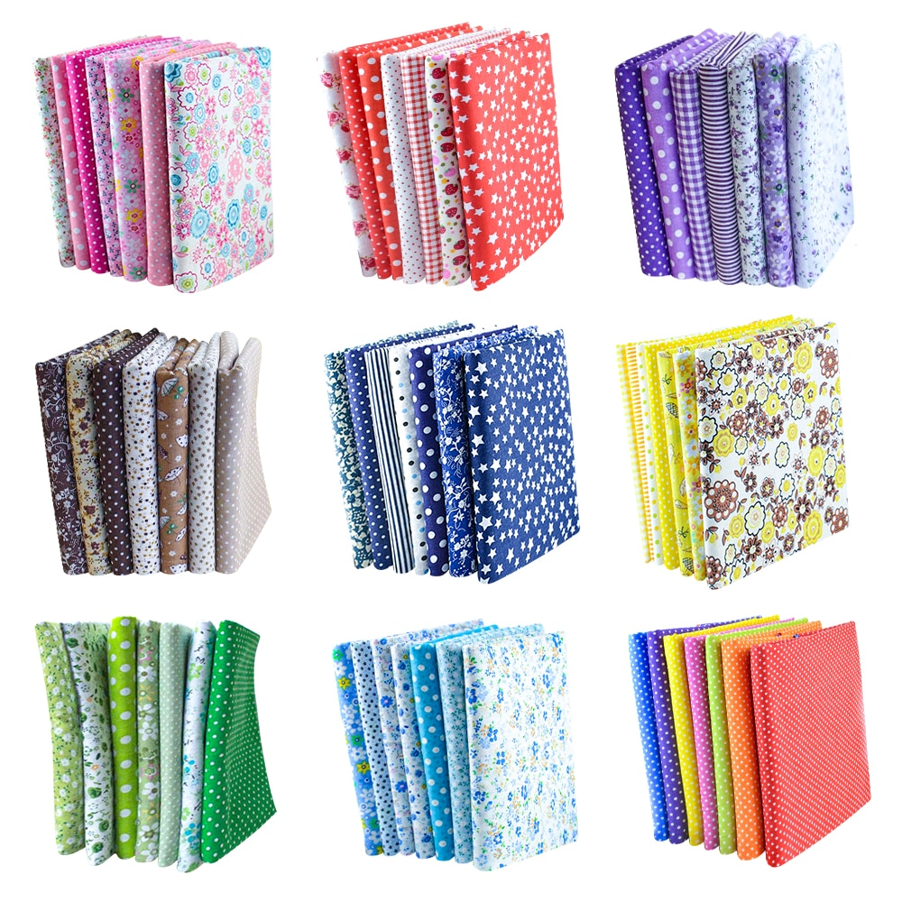 Booksew Cotton Fabric 10 Sets 50cmx50cm 70 Pieces/Lot Fat Quarters Bundle Quilted Patchwork Sewing Cloth Scrapbooking Dolls