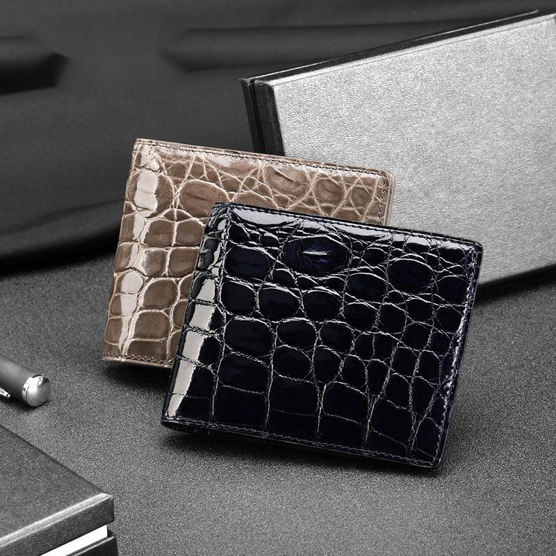 2021 new high gloss Nile Crocodile Wallet men's leather card bag carteira feminina masculina men billetera purse cartera hombre